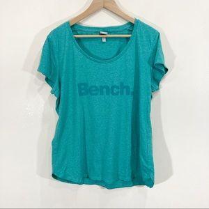 Bench Teal Green Logo Spell Out T-Shirt Sz XXL